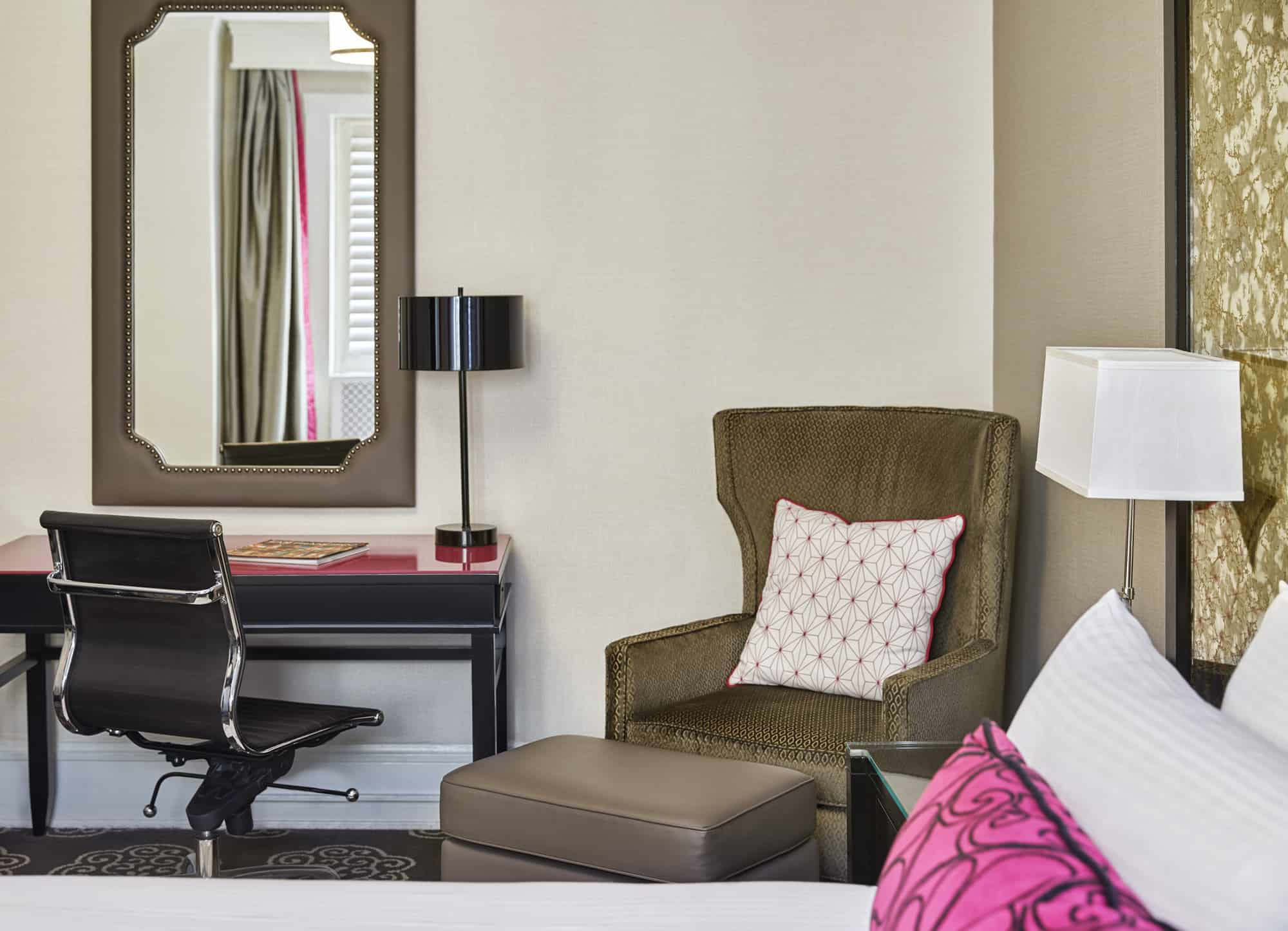 Guest room seating area detail.