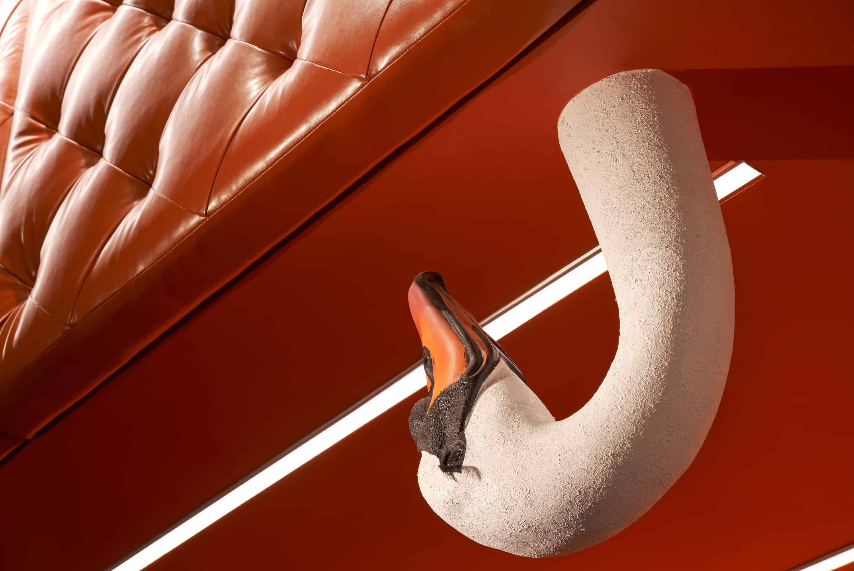 Swan neck decor in lobby.