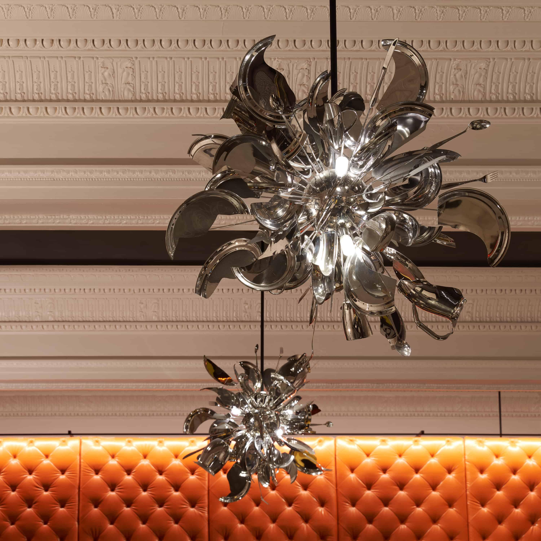 Lobby chandelier detail.